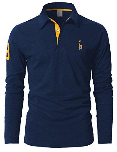 Leisure polos Hombre Mangas Largas Camiseta Algodón Deporte Oficina Botón Cuello,Azul,x-large