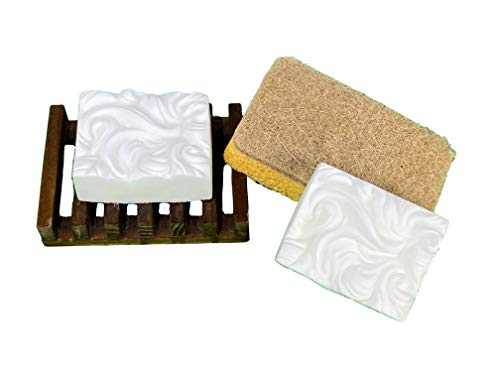 Zero Waste Natural Solid Bar Dish Soap Sustainable Kitchen Set | Handmade Organic Unscented Eco Friendly Plastic Free | 2 Bars of Dish Soap - Wooden Soap Holder and Compostable Scrubber Sponge