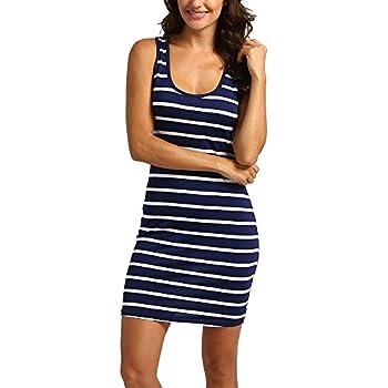 Mini robe sans manches à rayures pour femme - Col rond - Épaules dénudées - Pour l'été - Style décontracté - Pour la plage, les fêtes - Pour tous les jours - Bleu - M