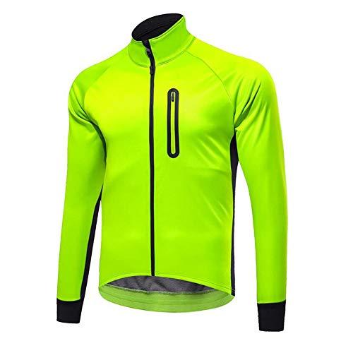 wei Hombres Alta Visibilidad Ciclismo Chaquetas Prueba de Viento Impermeable MTB Bicicleta Motocross Windcoat Invierno Térmico Rompevientos,Verde,XXL