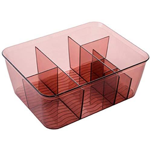 Organizador de maquillaje Weq, organizador moderno multimedia, caja de almacenamiento de cosméticos, tocador para el hogar, caja pequeña para baño, escritorio, cuidado de la piel, caja de acabado de joyería, acrílico, rojo vino, 23.3*18*9CM