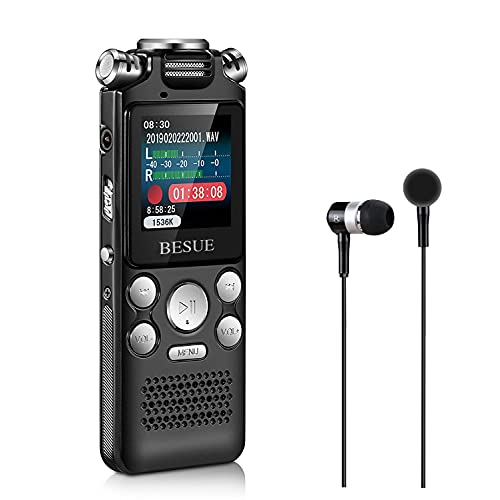 BESUE Digital Voice Recorder - 16GB Voice Activated Recorder with Playback, Rechargeable Audio Recorder for Meeting, Handheld Recorder for lectures, Double Microphone Noise Cancelling Dictaphone