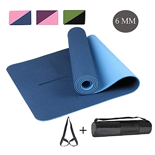 """Non Slip Yoga Mat - Eco Friendly 6mm Thick TPE Exercise Mat, Dual Color Fitness Mat with Alignment Marks for Home Workout,Gym,Pilates & Floor Exercises (72"""" x 24"""" x 1/4 Inch Thick)"""