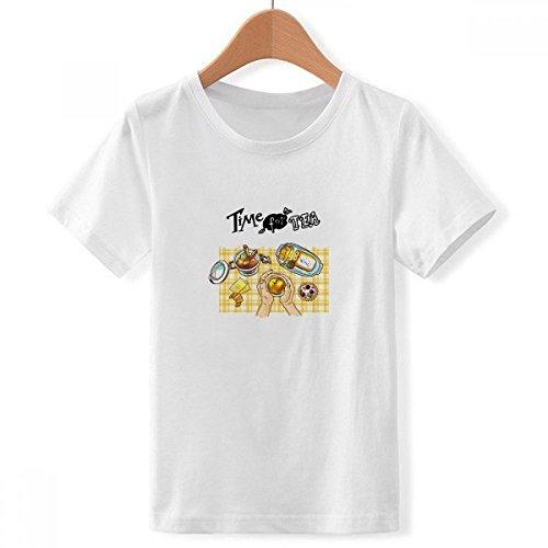 DIY thinker jongens tijd voor thee biscuits chocolade met ronde hals wit T-shirt