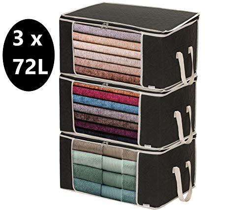 Housum ® 3 Aufbewahrungstaschen für Bettdecken und Kissen | Kleiderbox | Mit Griffen, die Nicht reißen | Reißverschluss schließt gut | Kleider Organizer | B 60 cm, H 30 cm, T 40 cm