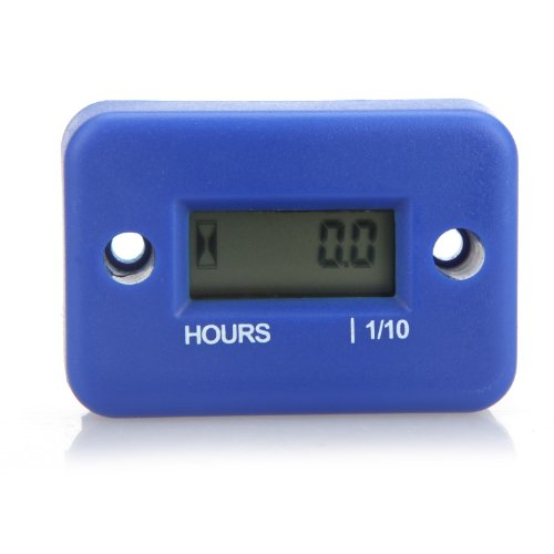 Docooler Digital Hour Meter Gauge LCD for Gasoline Engine Racing Motorcycle ATV Mower Snowmobile 0.1/99999Hrs - Blue