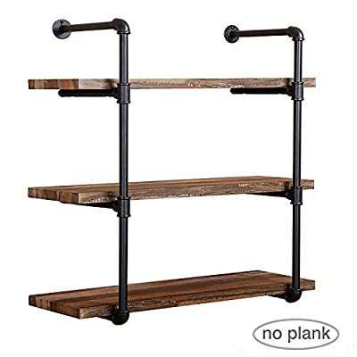 Jolitac Industrial Pipe Shelf Home Storage Hung Bracket, Wall Mount Black Retro Iron Pipe Floating Shelves Rack, DIY Shelving Bracket Supports for Bookshelf & Bookcase (3Tier x2, No Planks)