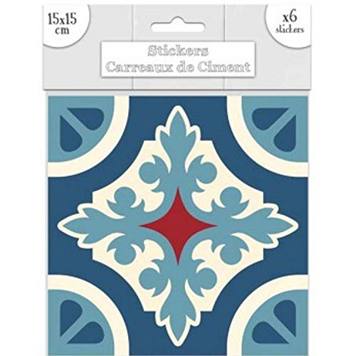 STC - Lot de 6 Stickers Carreaux de Ciment – Bleu Motif C