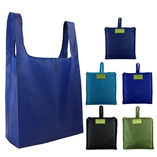 BeeGreen Shopping Bags 5 Faltbare Einkaufstaschen Polyester Reusable, 40cm×38cm×15cm Reißfeste Einkaufstüte Wiederverwendbare Shopper, Geschenk für Mann Frau Eltern, Familie Einkaufen Taschen