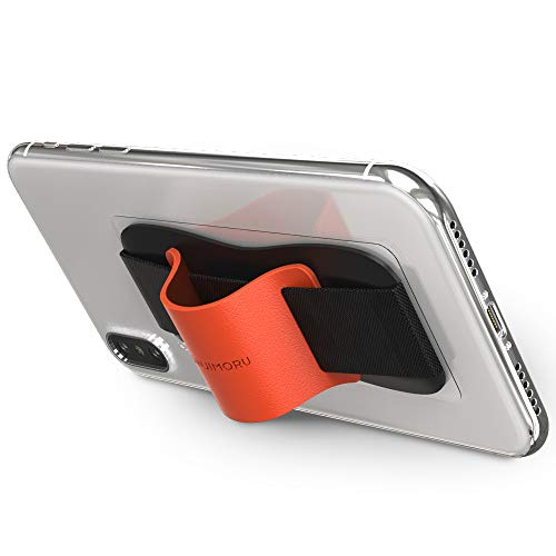 Sinjimoru Phone Grip Stand, Secure Handy Phone Strap for iPhone and Android, Phone Holder with Leather Phone Stand. Sinji Grip Orange