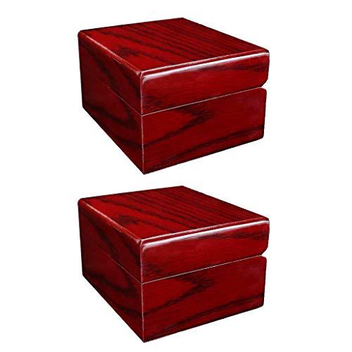 Bonarty - 1 par de cajas de madera para reloj, con capacidad para un reloj con almohadas suaves ajustables, color rojo vino