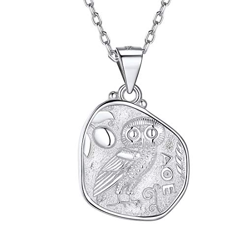 925 Sterling Silver Athena and Owl Coin Necklace Ancient Greek Jewelry Vintage Style Medal Pendant with Chain