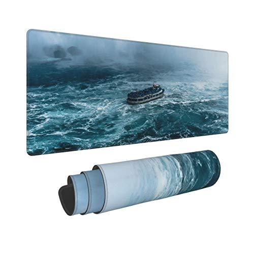 ALLMILL Alfombrilla Raton Un Barco navega por el mar tempestuoso Alfombrilla Gaming Alfombrilla para computadora con Base de Goma Antideslizante,80×30×0.3cm