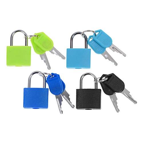 harayaa 4x Solid Steel Padlock Travel Suitcase Multi-Color Key Lock