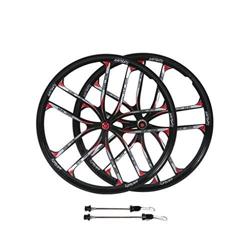 26 Pulgadas Integrado Ruedas de Bicicleta MTB, Aleación de Magnesio Freno de Disco Híbrido/Ciclismo de Montaña para Velocidad 7/8/9/10/11 Casete (Color : Black, Size : 26in)