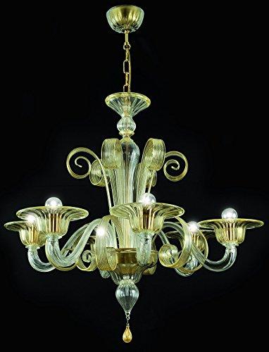 Bassa Laguna Kronleuchter aus Murano-Glas 6-armig golden bernsteinfarbenen