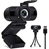 Webcam with Microphone and Privacy Cover, 1080P HD USB Web Cameras for Computers with Tripod, Streaming Webcam for PC Desktop Laptop MAC, Zoom/Skype/Facetime, Video Conferencing/Calling/Gaming