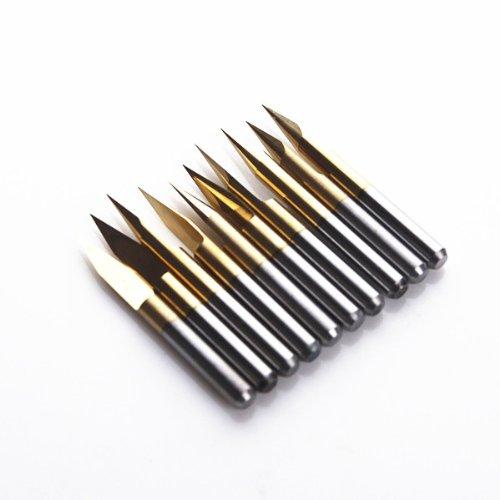SHINA 10x Titanium Coated Carbide PCB Engraving CNC Bit Router Tool 30 Degree 0.2mm Tip (J3.3002Tix10)
