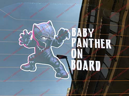 Baby BLACK PANTHER on board, adesivo per auto e moto. MARVEL univers