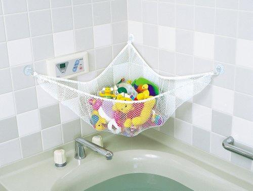 『スマートスタート お風呂ハンモック 抗菌加工 収納ネット 水きりがよくてたっぷり収納 おもちゃスッキリ清潔に』の2枚目の画像