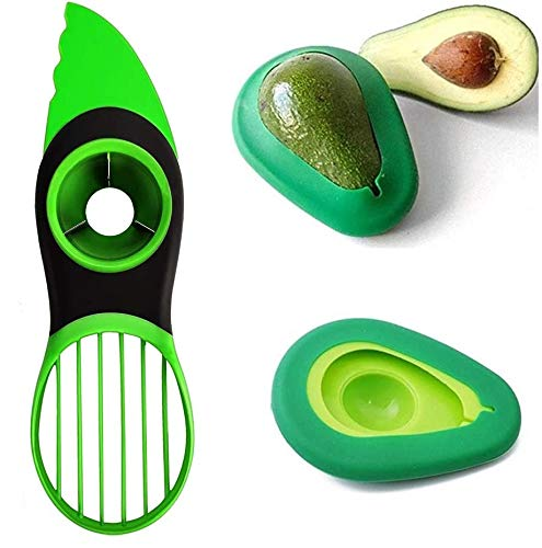 Avocado Slicer, 3 in 1 Avocado Tool Multifunctional Avocado Slicer, Avocado Pitter, Avocado Cutter, Avocado peeler with Ergonomic Grip Suitable for kiwi dragon fruit And Avocado Saver (set of 3)