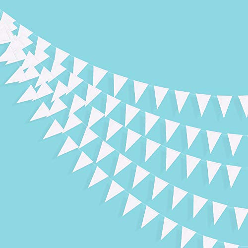 39 Ft Triangle Flags Banner Double Sided Pearly White Paper Pennant Bunting Garland for Wedding Baby Bridal Shower Birthday Bachelorette Engagement Anniversary Hen Party Christmas Decoration Supplies