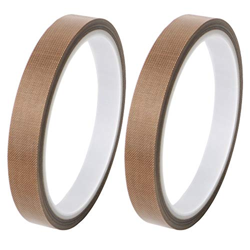 GTIWUNG 2 Stück Teflonband, Hochtemperaturband, PTFE Glasgewebeband/Glasklebeband, High Temp Klebeband, Hitzebeständig bis 260°C, Selbstklebend, 13mm x 10m