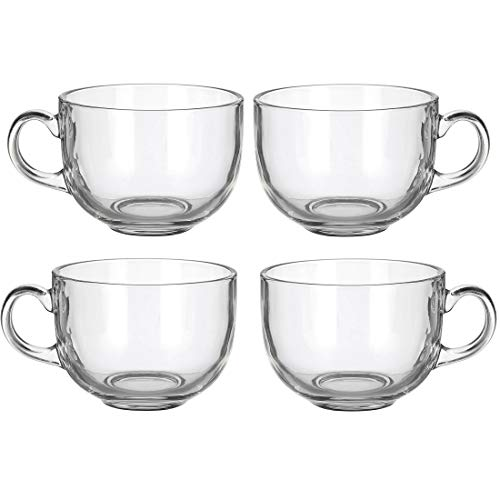 Set of 4 Large 16oz Glass Wide Mouth Coffee Mug- Dishwasher & Microwave Safe