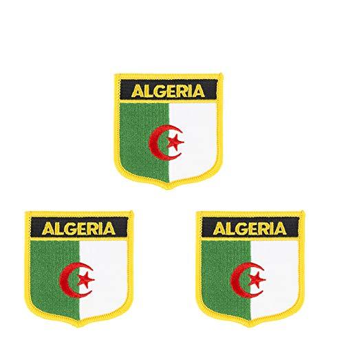 Aufnäher mit Algerien-Flagge, bestickt, Schild-Form, zum Aufbügeln oder Aufnähen, 3 Stück