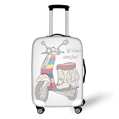 Travel Luggage Cover Suitcase Protector,Motorcycle,Vintage Scooter in Pale Soft Colored Illustration Outside Transportation No Traffic,Multi,for Travel,L