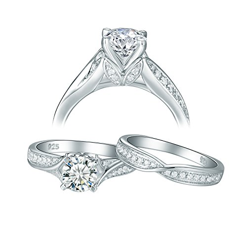 Newshe Jewellery Cz Engagement Wedding Rings for Women 925 Sterling Silver 1.4ct Round White Size 9