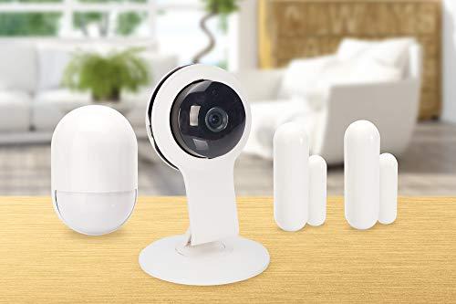 ednet Smart Alarm Starter Kit Security, App, HD 720p Innenkamera, Bewegungssensor und 2x Kontaktsensor
