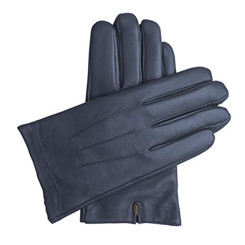 Downholme Classic Leather Cashmere Lined Gloves for Men (Dark Blue, XS)