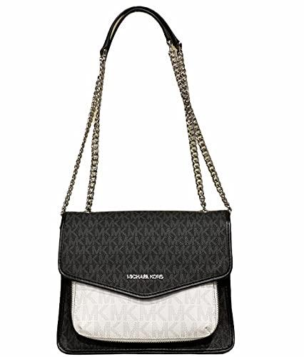 Michael Kors Regina Medium Black White Signature MK PVC Leather Flap Shoulder Bag Handbag