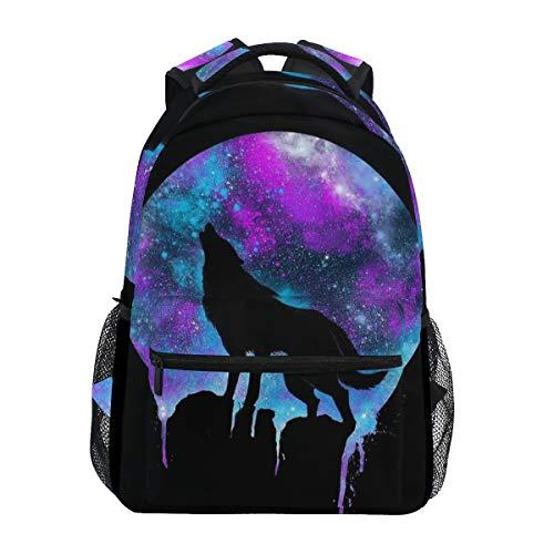 BIGJOKE Backpack, Galaxy Wolf Large Capacity Casual Printed School Shoulder Bag Daypack Travel Laptop Women Adults Boys Girls