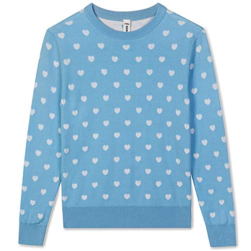 BOBOYOYO Girls Sweater Pullover, Heart Sweater for Kids, Long Sleeve Crew Neck Cotton Knit Pullover for Size 3-12Y Light Blue