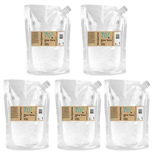 Naissance Gel de Aloe Vera n. º 707 – 5 Kg (5 x 1kg Envase Recarga) - Vegano y no probado en animales - Refrescante, calmante e hidratante para todo tipo de pieles.