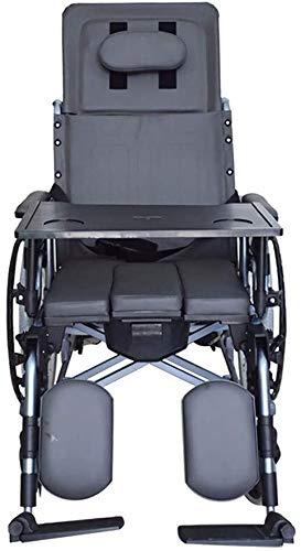 XDHN rolstoel, multifunctionele vouwtoilet met eettafel, frame van aluminiumlegering, rolstoel in volledige grootte oudere rolstoel