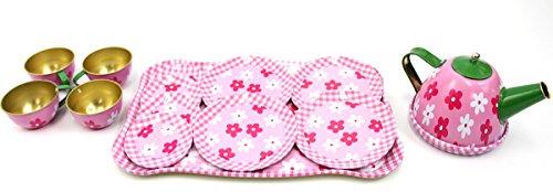 PowerTRC Flower Springtime Children's Kid's Full Metal Durable Pretend Play Toy Tea Set w/ Cups, Tea Pot, Plates, Tray