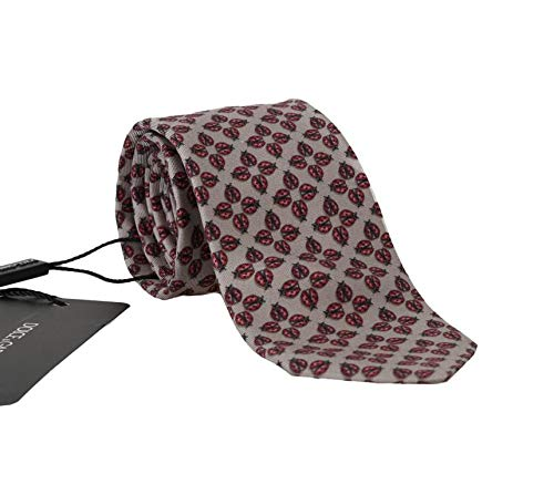 Dolce & Gabbana Corbata clásica de seda, diseño de mariquita, color gris y rojo - Rojo - talla única