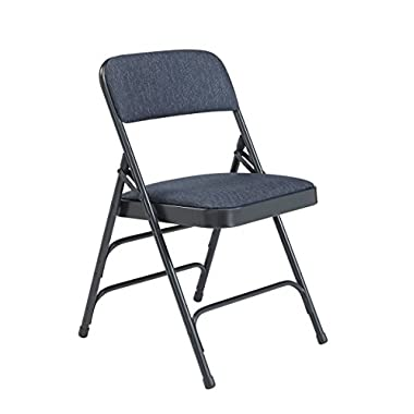 National Public Seating 2300 Series Steel Frame Upholstered Premium Fabric Seat and Back Folding Chair with Triple Brace, 480 lbs Capacity, Imperial Blue/Char-Blue (Carton of 4)