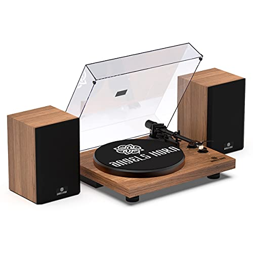 ANGELS HORN Vinyl Record Player, Hi-Fi System Vintage Bluetooth Turntable Players with Stereo Bookshelf Speakers, Built-in Phono Preamp, Belt Drive 2-Speed, Adjustable Counterweight, AT-3600L