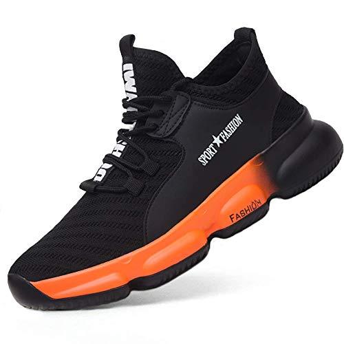 [ブルーポメロ] 安全靴 あんぜん靴 作業靴 スニーカー メンズ レディース 鋼先芯 KEVLARミッドソール 鋼製ミッドソール 軽量 通気 耐摩耗 衝撃吸収 男女兼用 8875オレンジ 27.5