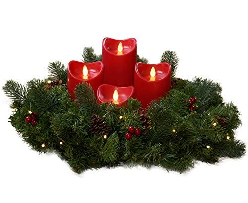 Künstlicher Adventskranz mit Lichterkette und 4 LED Kerzen | Batteriebetrieben | Sicher in der Anwendung | Tannenkranz mit Zapfen und Beeren | Ø 40cm