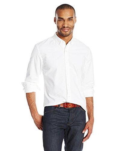 Goodthreads Regular-Fit Long-Sleeve Solid Oxford Shirt Hemd, White, Medium