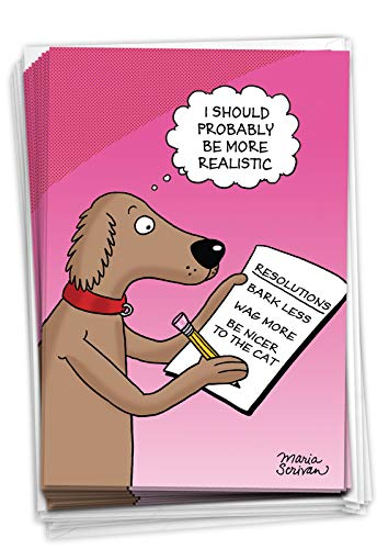 Dog Resolutions - Box of 12 Happy New Year Cards with Envelopes (4.63 x 6.75 Inch) - Funny Dogs Cartoon, New Year's Celebration - Pink Stationery Notecard Set for New Years C4520NYG-B12
