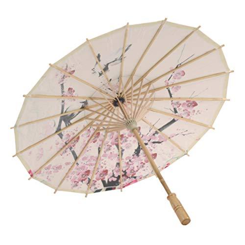 Healifty Ombrello di Carta Oleata con Decorazione Floreale in Fiore di Prugna Ombrello in Stile Cinese Ombrellone Arte Danza Ombrello per La Fotografia di Matrimonio Decorazione Costume da Festa