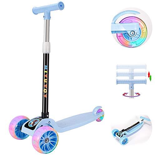 Youfen Kinder Roller Scooter - Kinderscooter für Mädchen und Jungen von 3 bis 12 Jahren,Premium Blinkenden LED Räder Kickscooter Dreiräder mit 3 Höhenverstellbare und Faltbar Lenker (Blau)