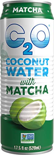 C2O Pure Coconut Water | Natural Electrolytes, Healthy Sport Drink Alternative, Non-GMO, Gluten Free, Plant Based, No Added Sugar (Matcha, 12 Pack)