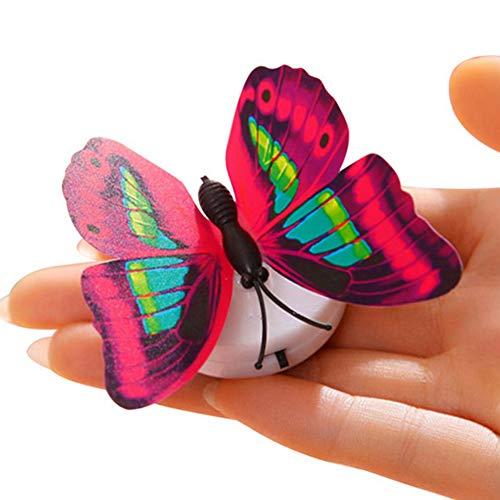 LPxdywlk LED Nachtlicht Bunte 3D Simulation Schmetterling Wandaufkleber Home Party Dekor 7 cm x 2,2 cm
